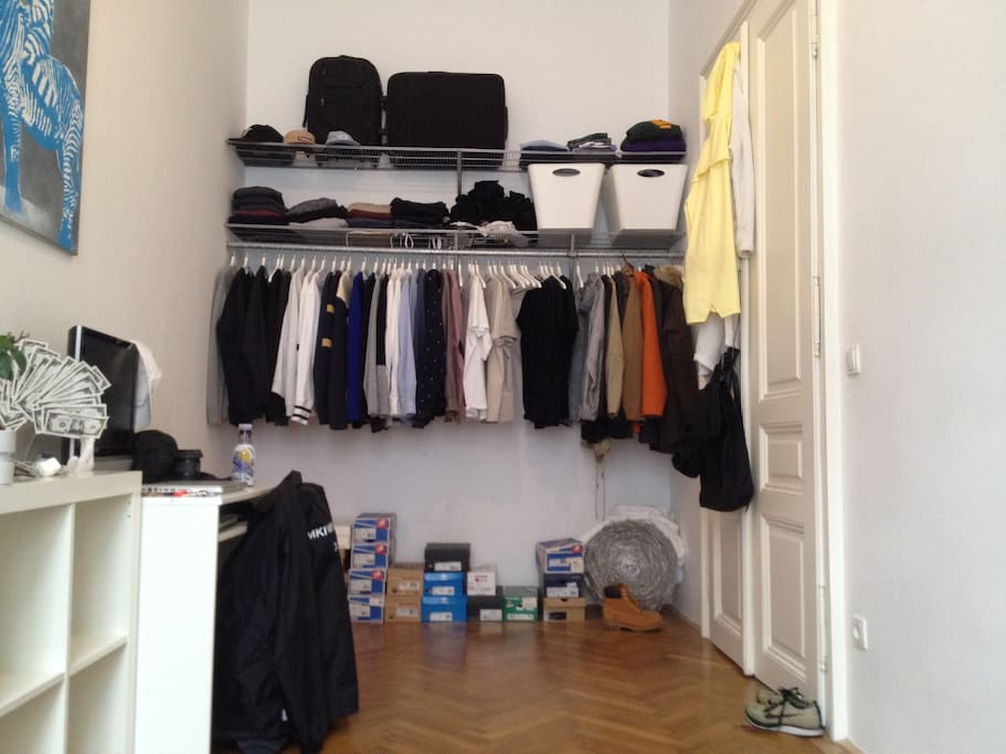 Wardrobe will be emptied and shoeboxes removed, so you have space for your belongings.