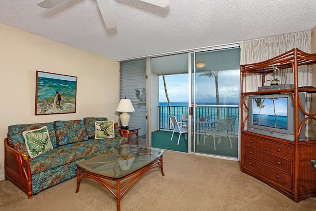 This oceanfront one-bedroom condo is tropically furnished in comfort and style with a Queen size bed, dining for four, cable TV, DVD player, stereo and FREE Internet access. Additionally a comfortable sofa sleeper is there for use by an additional person.