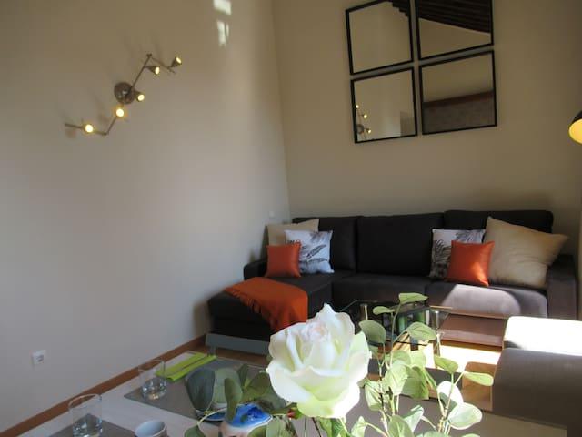 Otra vista del salón con sofá cama cheslong super cómodo y apertura italiana