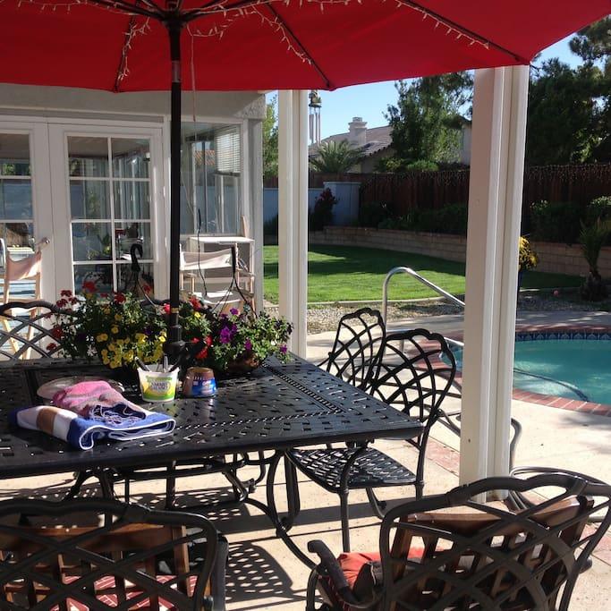 Seating area near pool