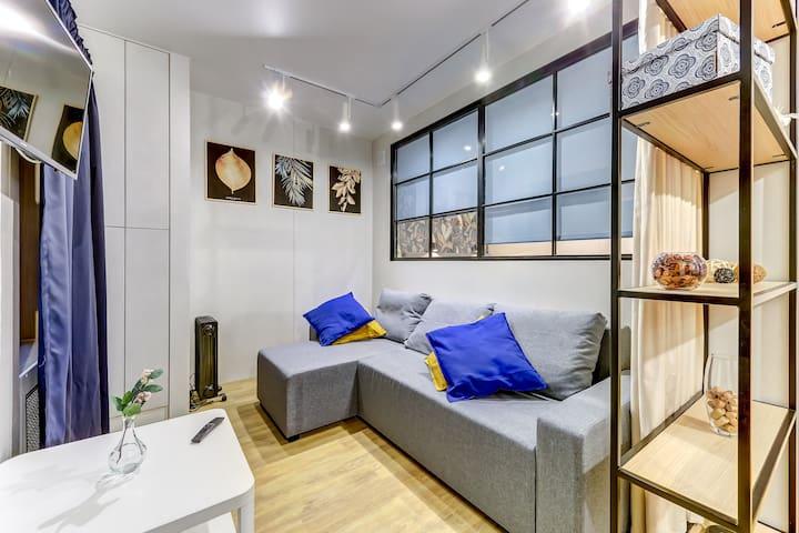 Design flat near Neva river 2/4 people