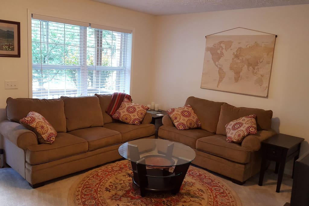 Comfortable couches with room to spread out and relax