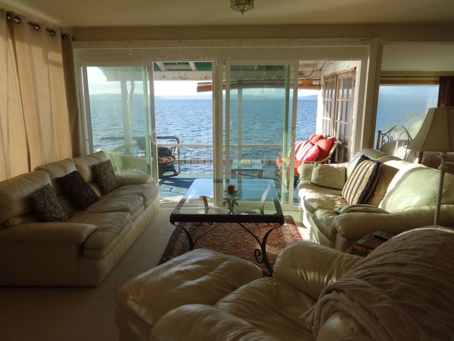 Looking toward the water from the middle part of the living room - views all around!