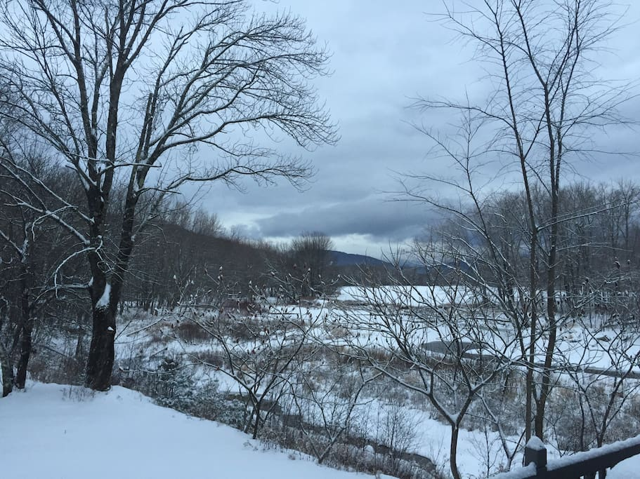 Snow covered river view.