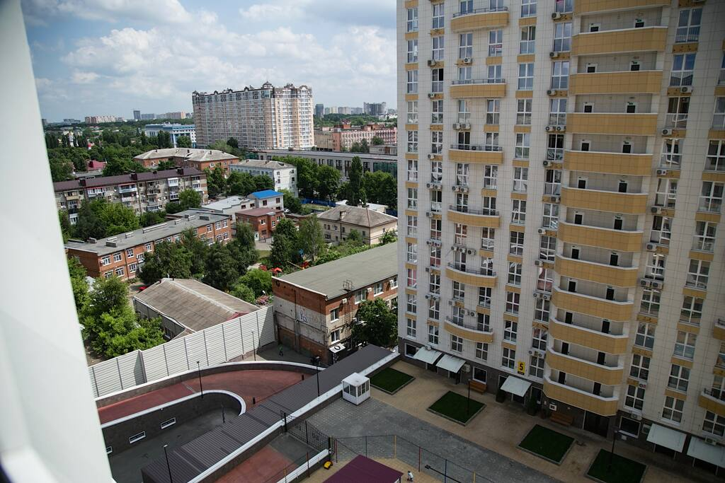 Вид из окна студии.  Enjoy the city view from the window of your studio. It also faces a quiet inner courtyard, so you'll never hear the noise of the busy streets.
