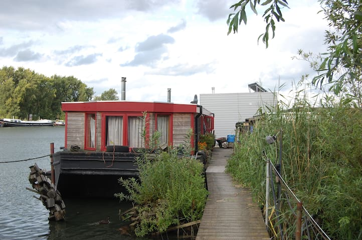 Houseboat on IJsselmeer in Amsterdam