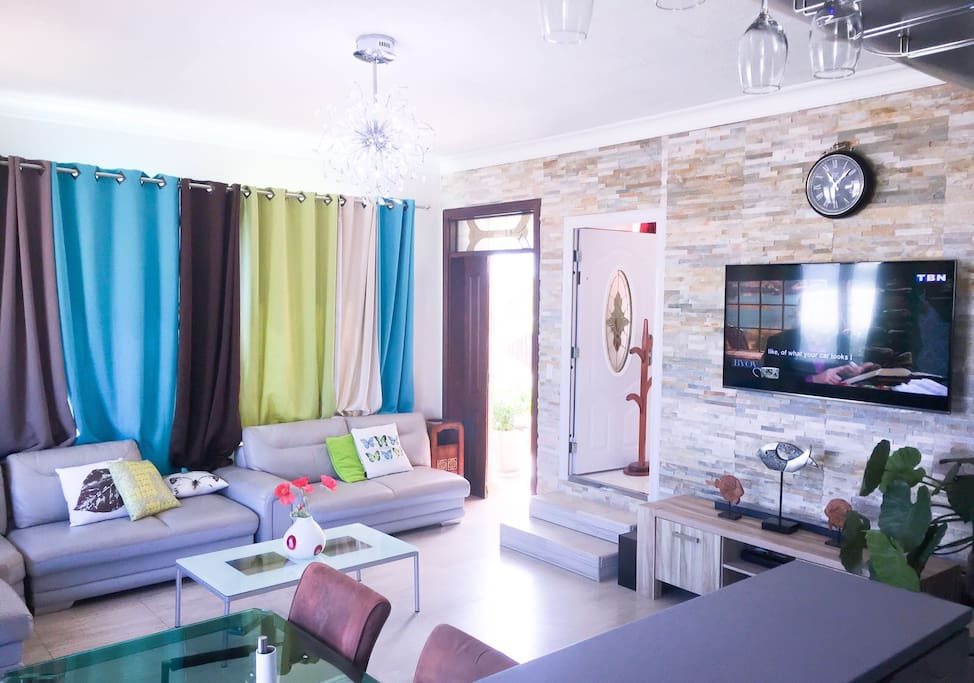 A cross section of living room with TV and entertainment