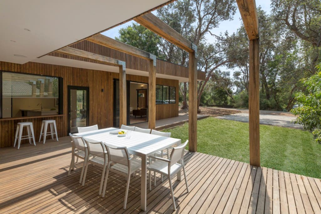 Outdoor dining with BBQ and servery window