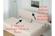 There are two double sofa beds in the living room. This one is very very easy to open and close. Directions end here.