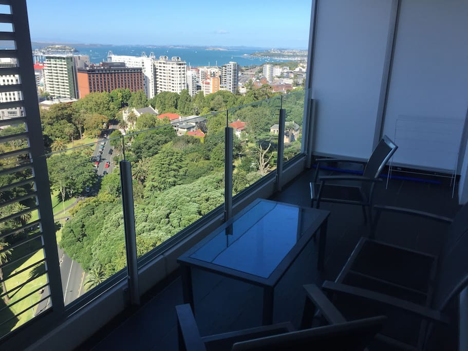 Spacious balcony with great view of Auckland Harbour