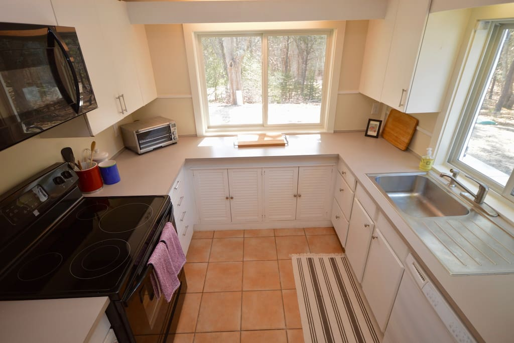 Kitchen with lots of light- stove, toaster, microwave, dishwasher