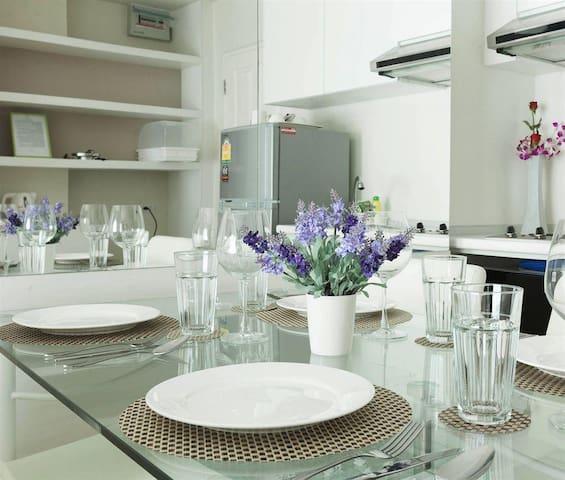 kitchen area and dinner set
