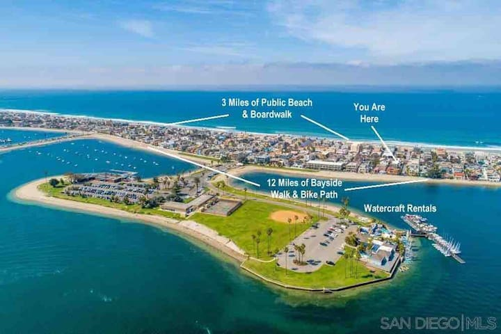 Hideaway steps to sand of PB, Mission Beach&Bay!