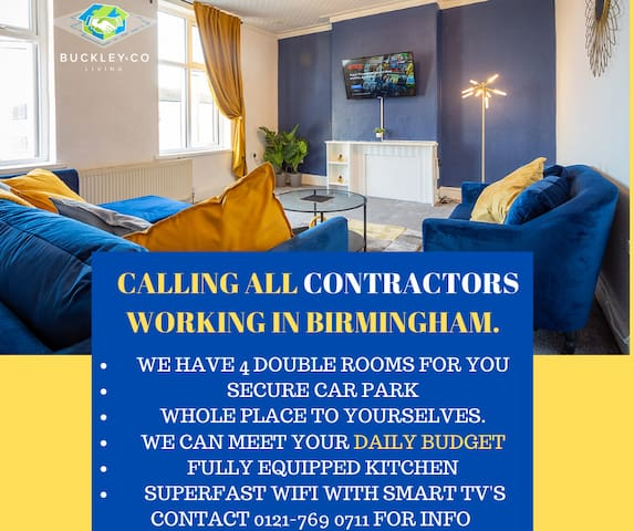 💚👷4 BED CONTRACTOR HOME NEAR M5 BHAM👷♂️💚