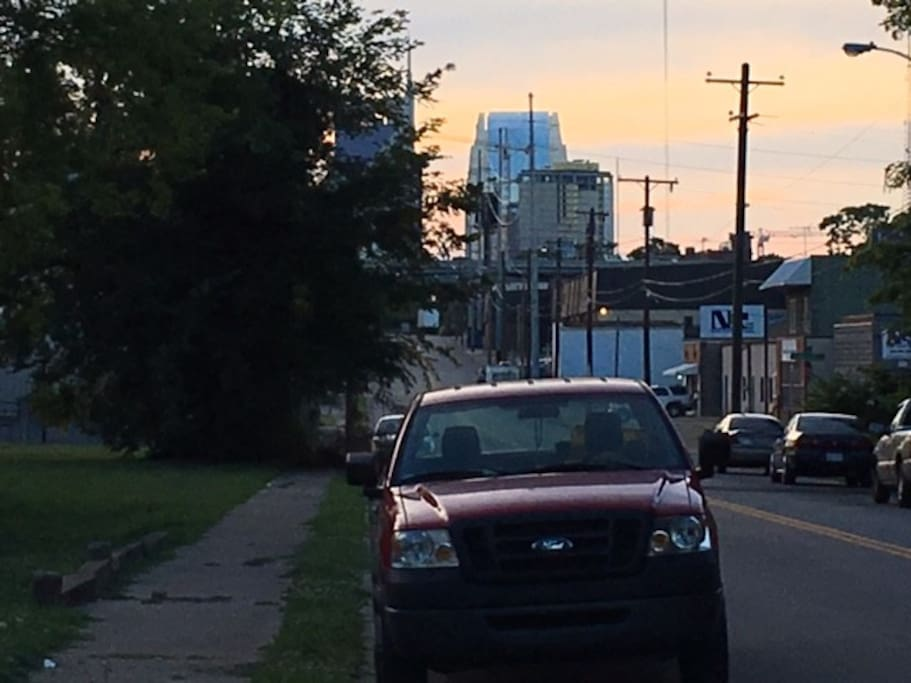 The view from the front yard!! The Nashville downtown skyline. You're about a mile away from all things Nashville!