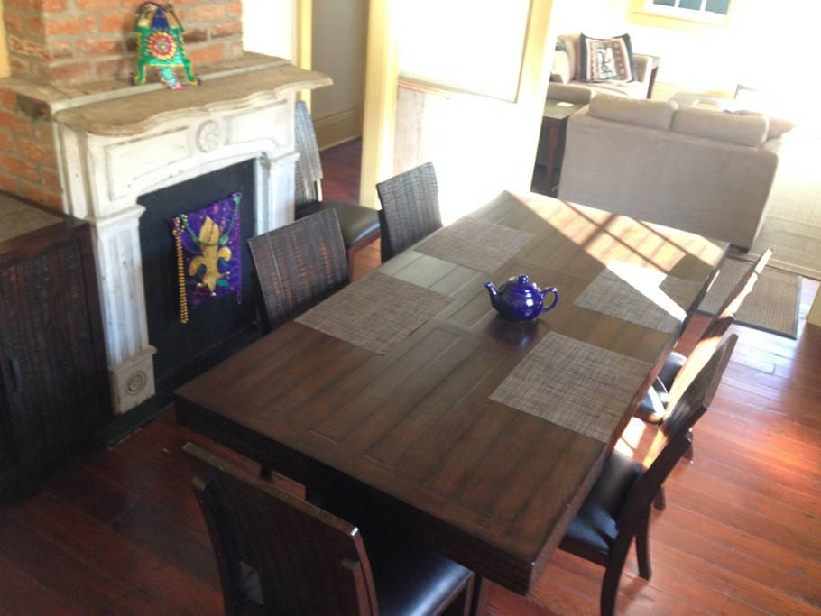 Dining room with original fireplace. Seats 6-8.