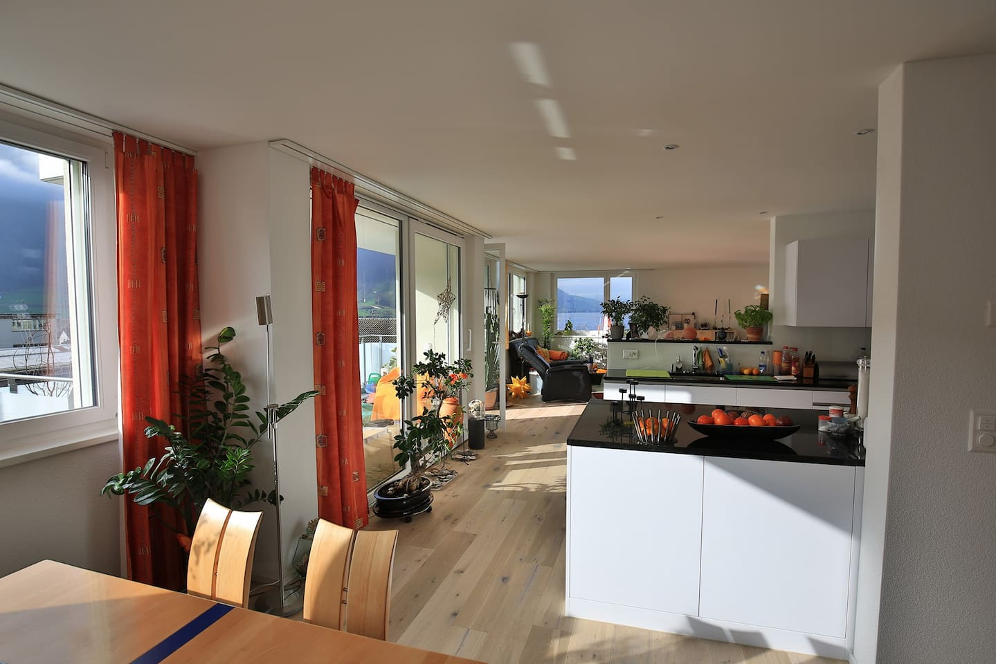 Living room with open kitchen 60m2