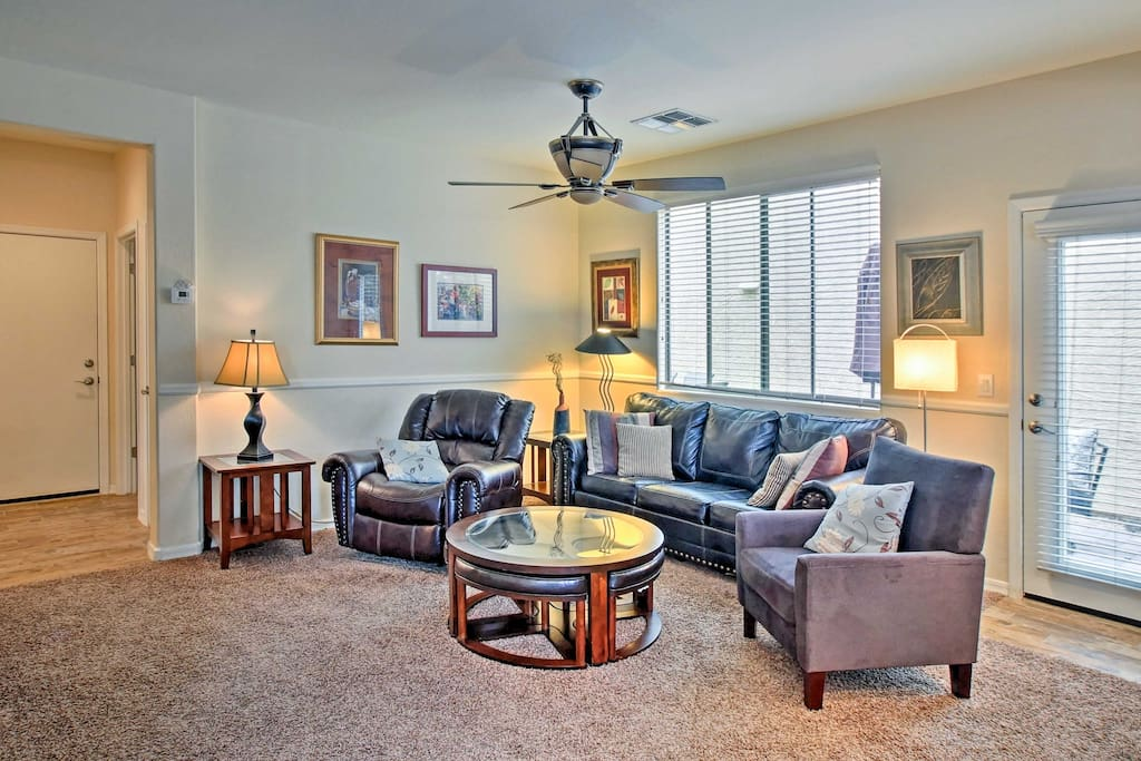 The interior is well-appointed with cozy decor and all the comforts of home.