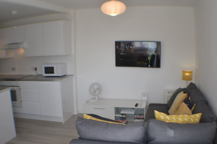 """Lounge area with bed settee, 40"""" smart TV with a Netflix account."""