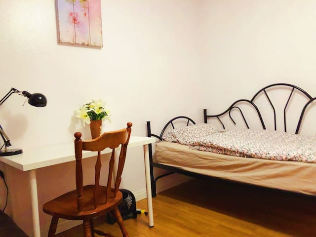 pinkdream room with twin bed and sofa bed