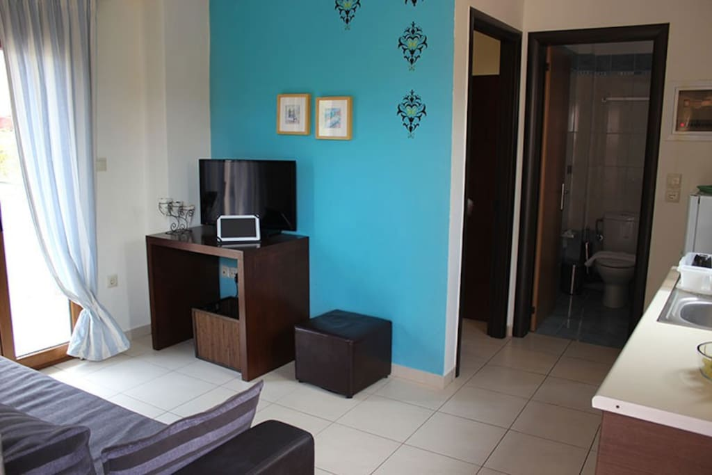 living room with  kitchen fully  equipped, and a sofa where you can sleep there (2 persons).