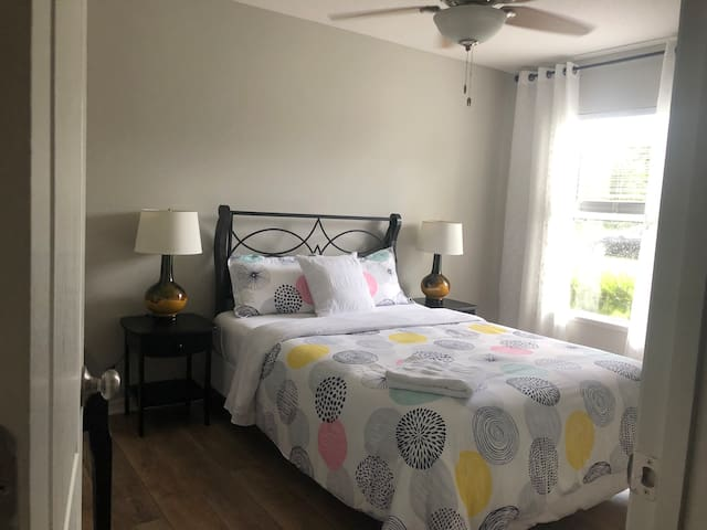 Fully furnished bedroom with shared bathroom