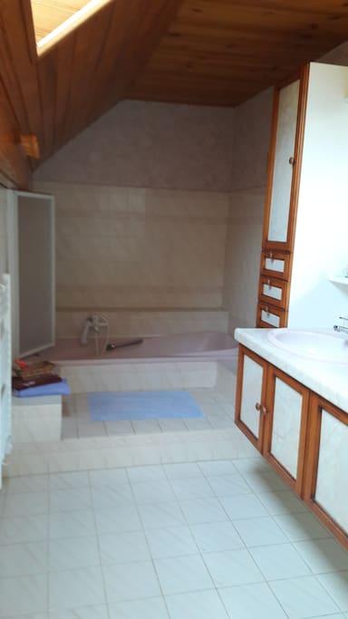 Grande salle de bain baignoire et douche