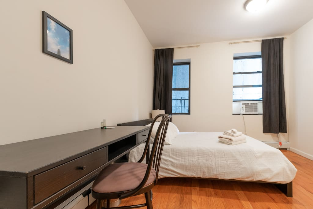 This bedroom is quiet since it faces another building on the inside of the block. No view, but very quiet and spacious at 160 square feet (11 feet x 15 feet)!