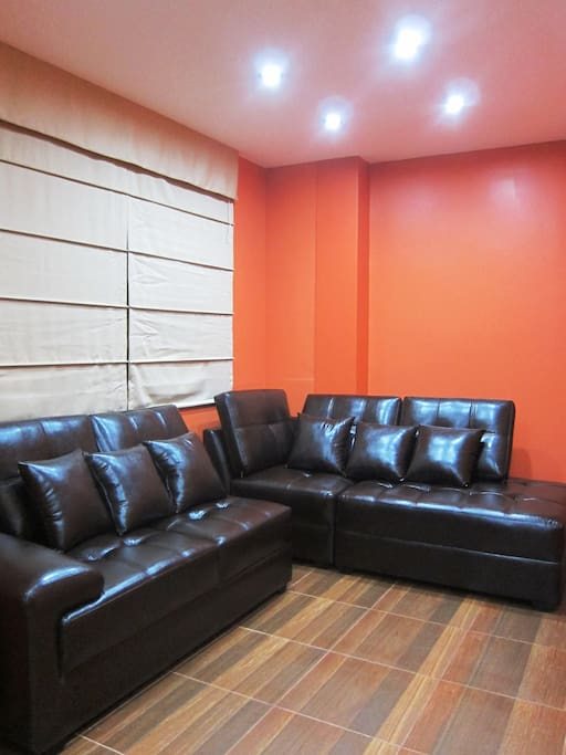 Real leather sofa living room