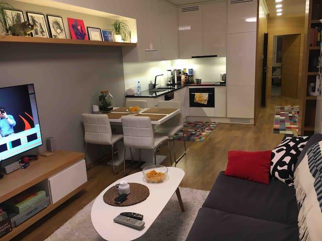 living room+kitchen/salon+kuchnia