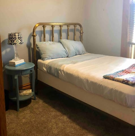 The Blue Room is the smallest, with a full-sized bed. There are a large closet and plenty of high-quality sheets and blankets.