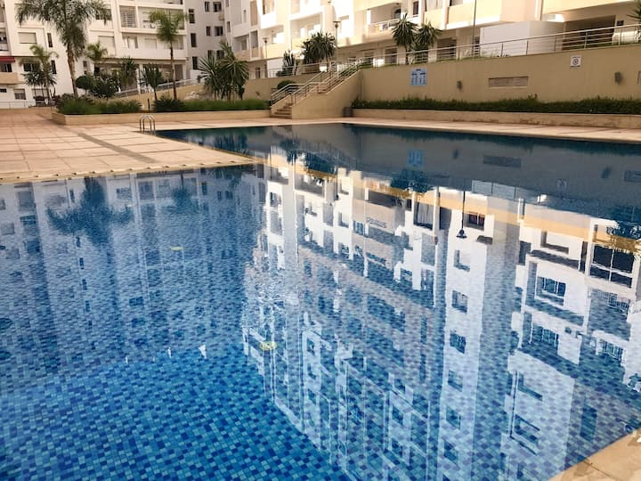 Apartment with one bedroom in Agadir, with wonderful city view, shared pool and balcony - 6 km from the beach