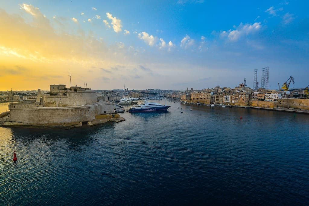 The majestic grand harbor of valletta ( view as you walk out the door)