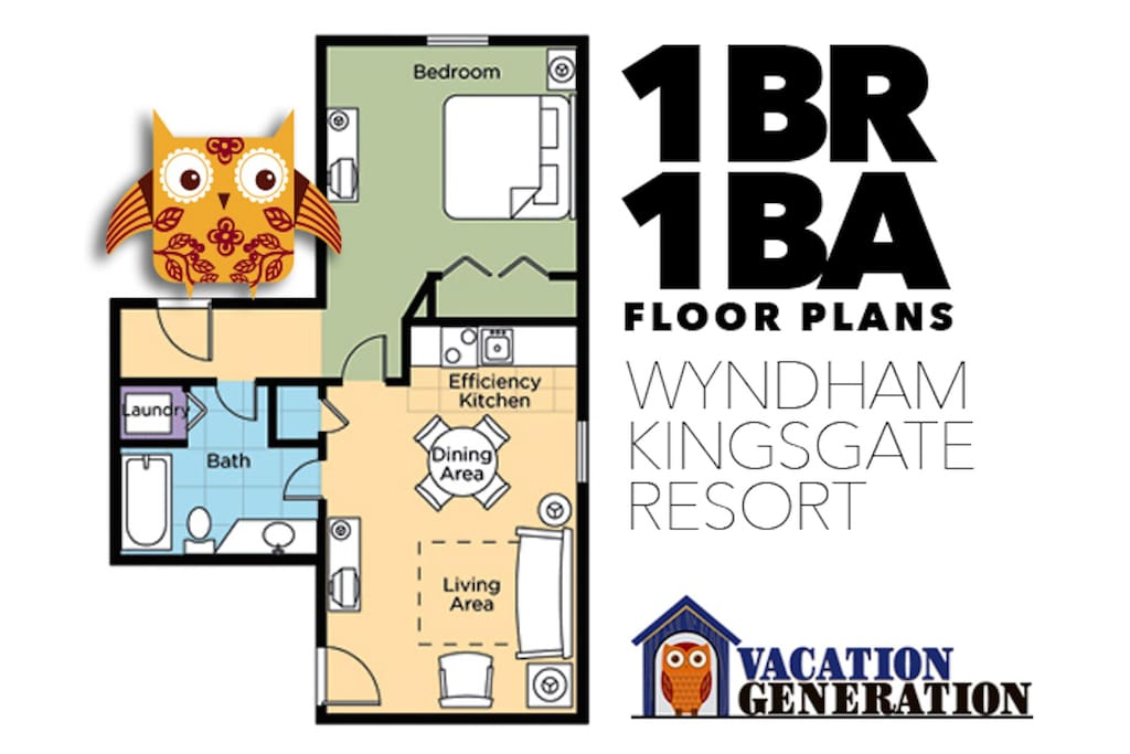 Floor plans and layout for 1 bedroom condo at Kingsgate