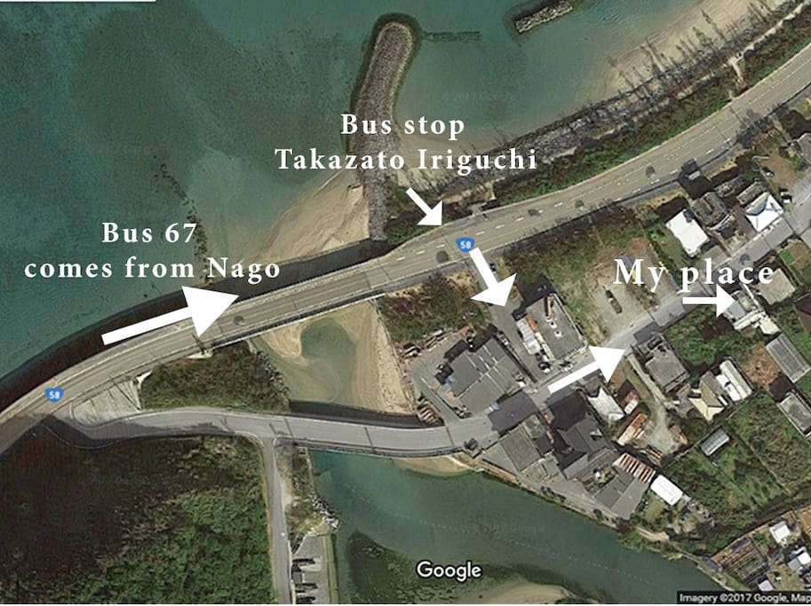 """to get to my house ,get off #67 bus stop at """"Takazato iriguchi"""" (田嘉里入り口)"""