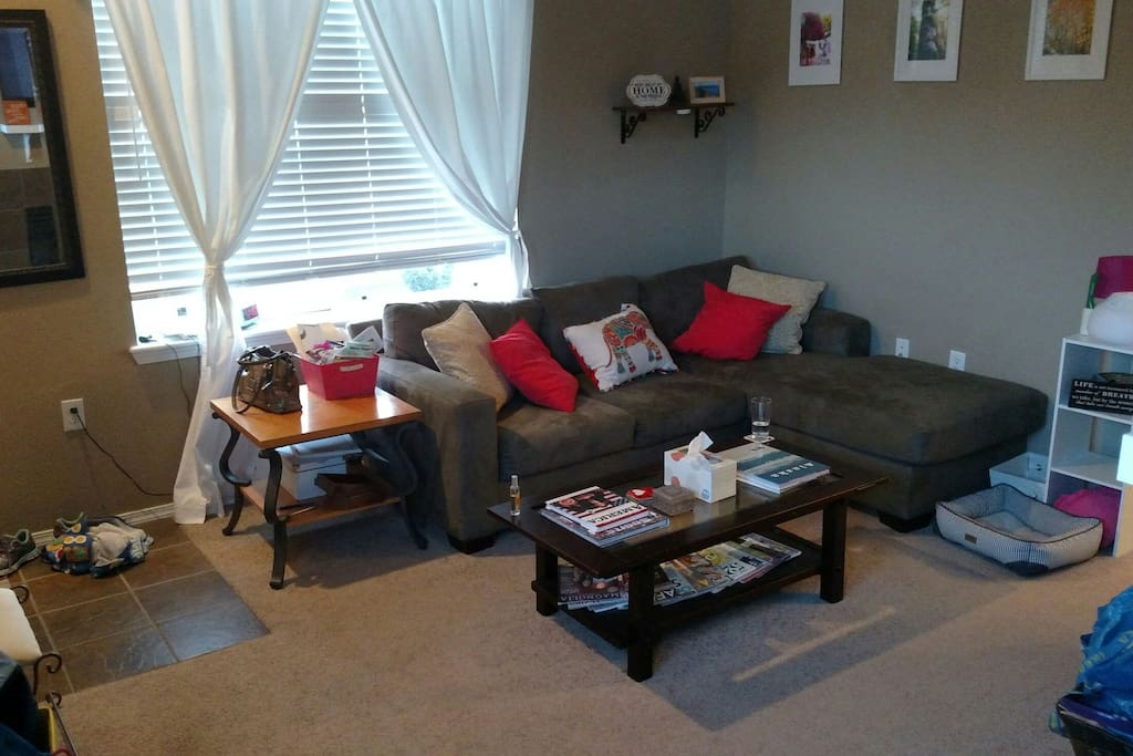 Shared living room area for reading, conversation or movies.