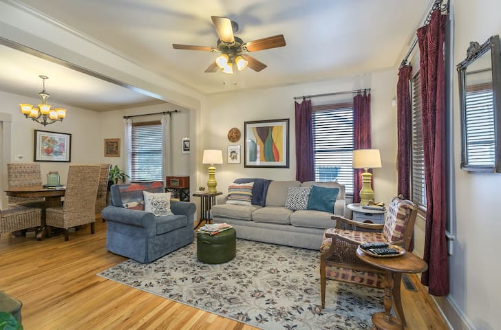 Enter to a spacious living room and dining room