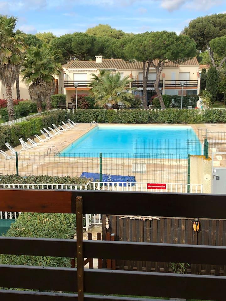 Studio  Clim piscine près plage et camp naturiste