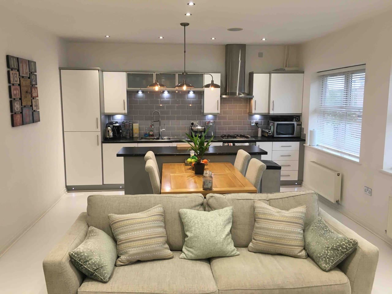 Open plan fully equipped kitchen, lounge and diner.