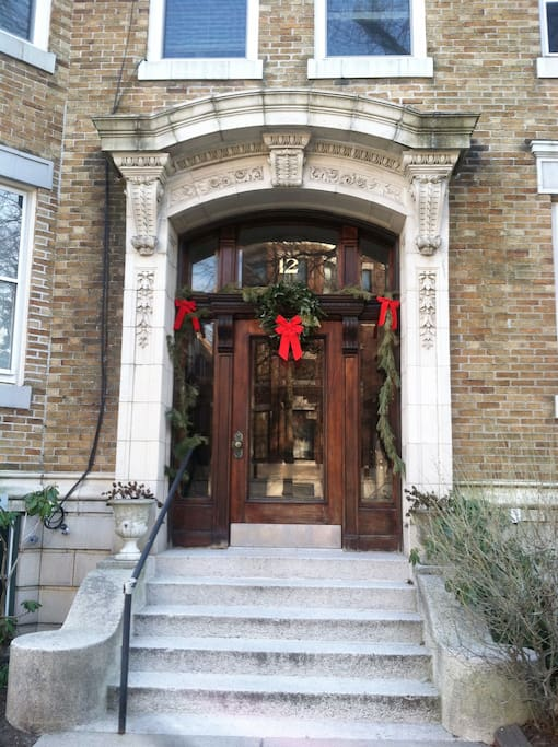 Holiday Bows on our front door 2017