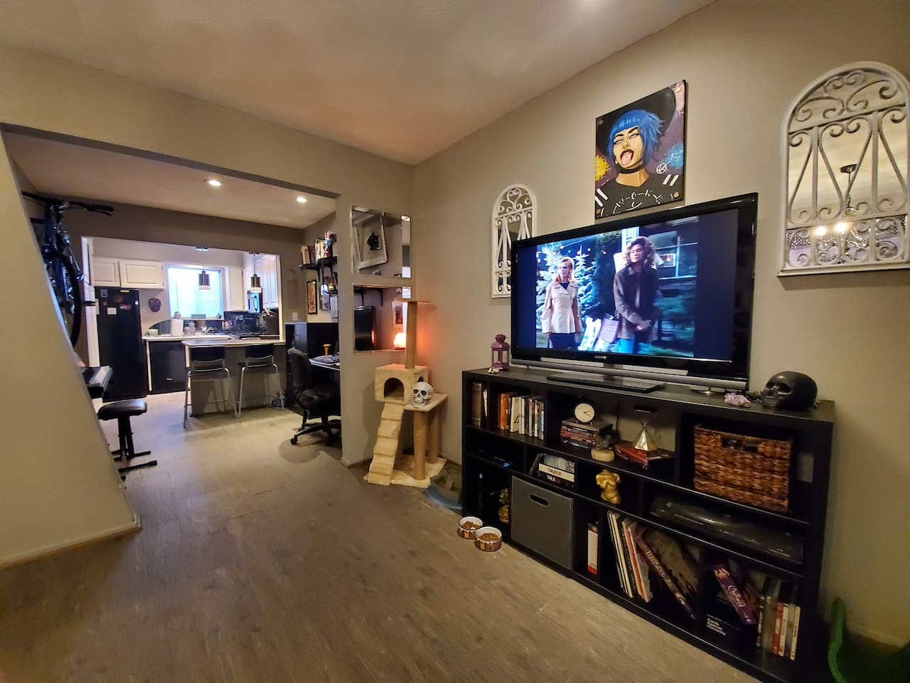 Living room into creative work space.