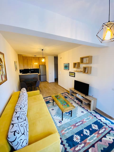 Contemporary one bedroom apartment near the beach.