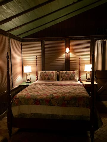 The sleeping area at night with blinds pulled down for total privacy.