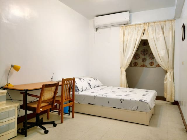 Double room with two desks, aircon and  private balcony you can hang your clothes.  There is a private toilet inside your room, don't have to share with others.