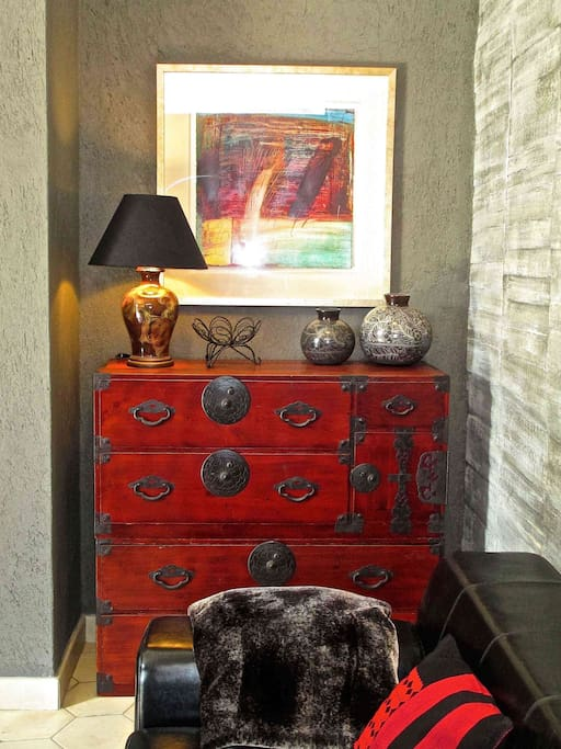 Touches of art and antique furniture.