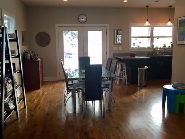 Our home is open concept, with the dining room flowing into the kitchen.