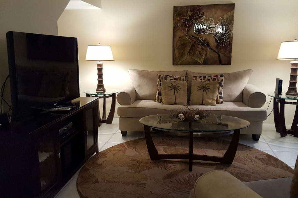 Large flat screen TV (w/CD and  Bluray player) and new comfy couch w/ pullout queen bed.