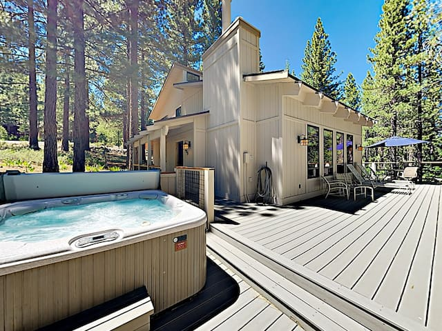 Enjoy starlit soaks in the hot tub on the wrap-around deck.