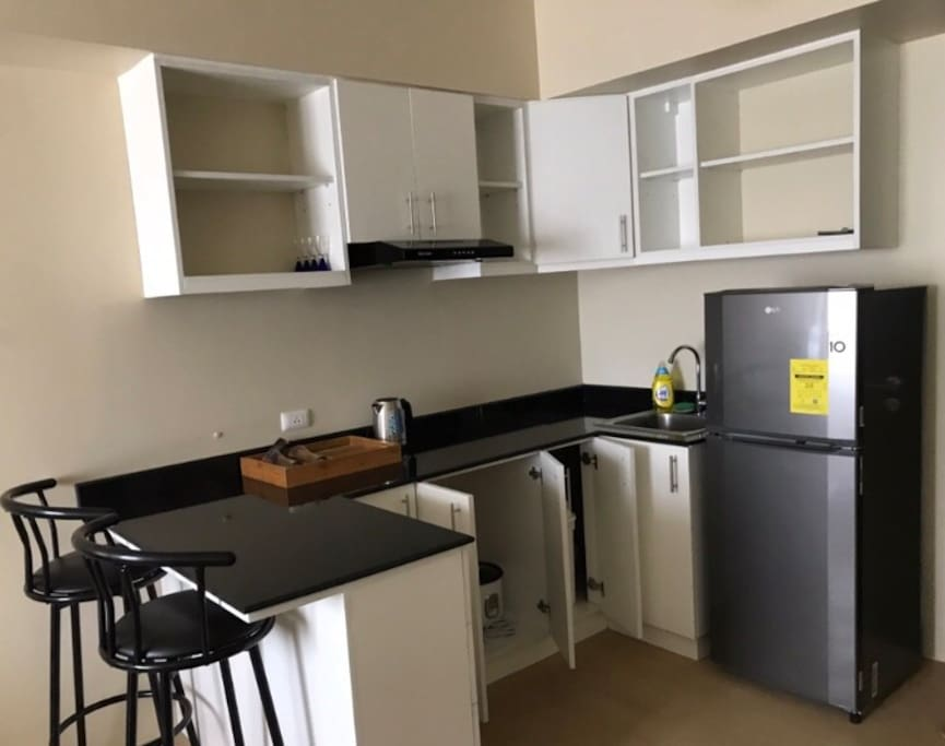 Complete with Cooking appliances, cooking wares and basic cooking needs.