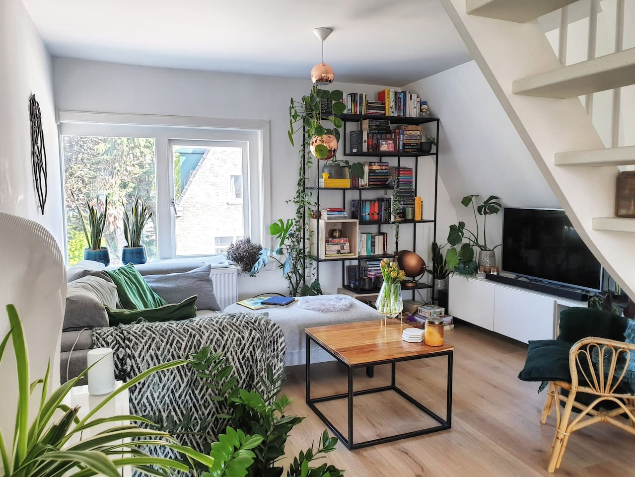 The cozy, comfortable and green living room. You'll feel right at home.
